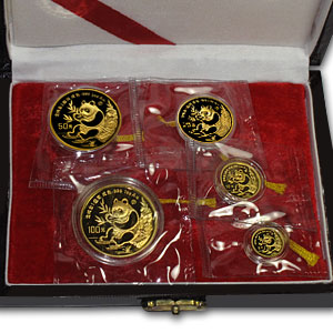 1991 (5 Coin PROOF) Gold Chinese Panda Set - (original box w/coa)